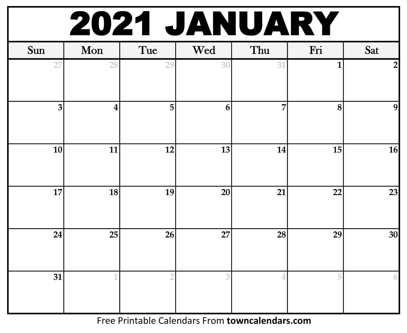 Printable January 2021 Calendar - Towncalendars intended for Waterproof Calendar 2021