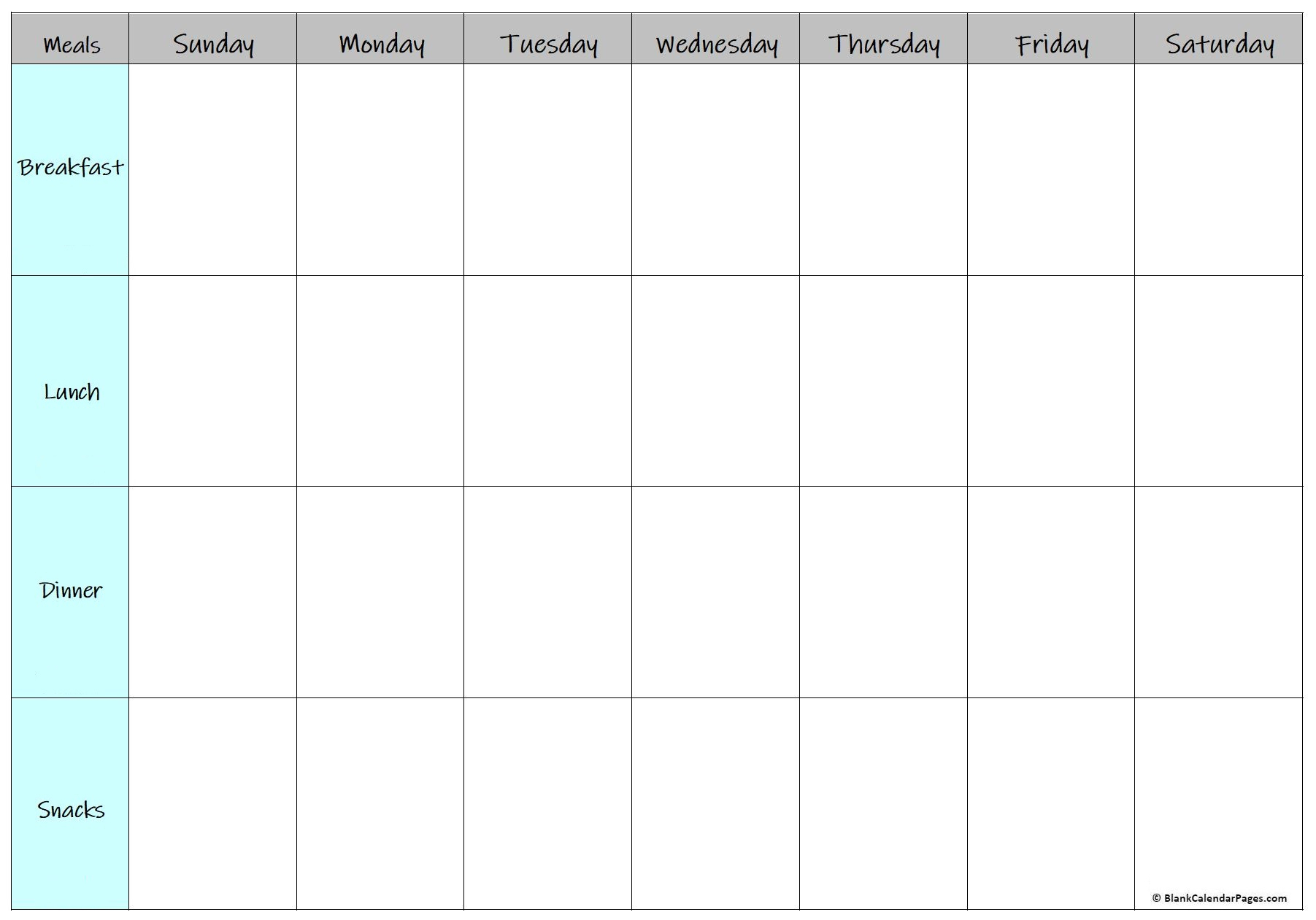 Printable Meal Planner Template with regard to Free Printable Monthly Menu Calendar
