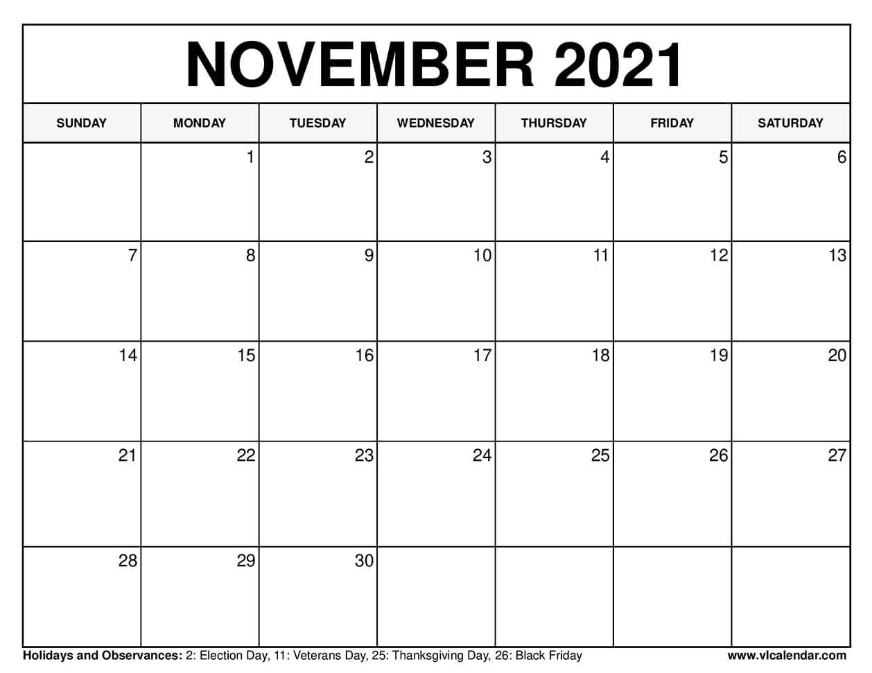 Printable November 2020 Calendars with Calendar 2021 November Fill In