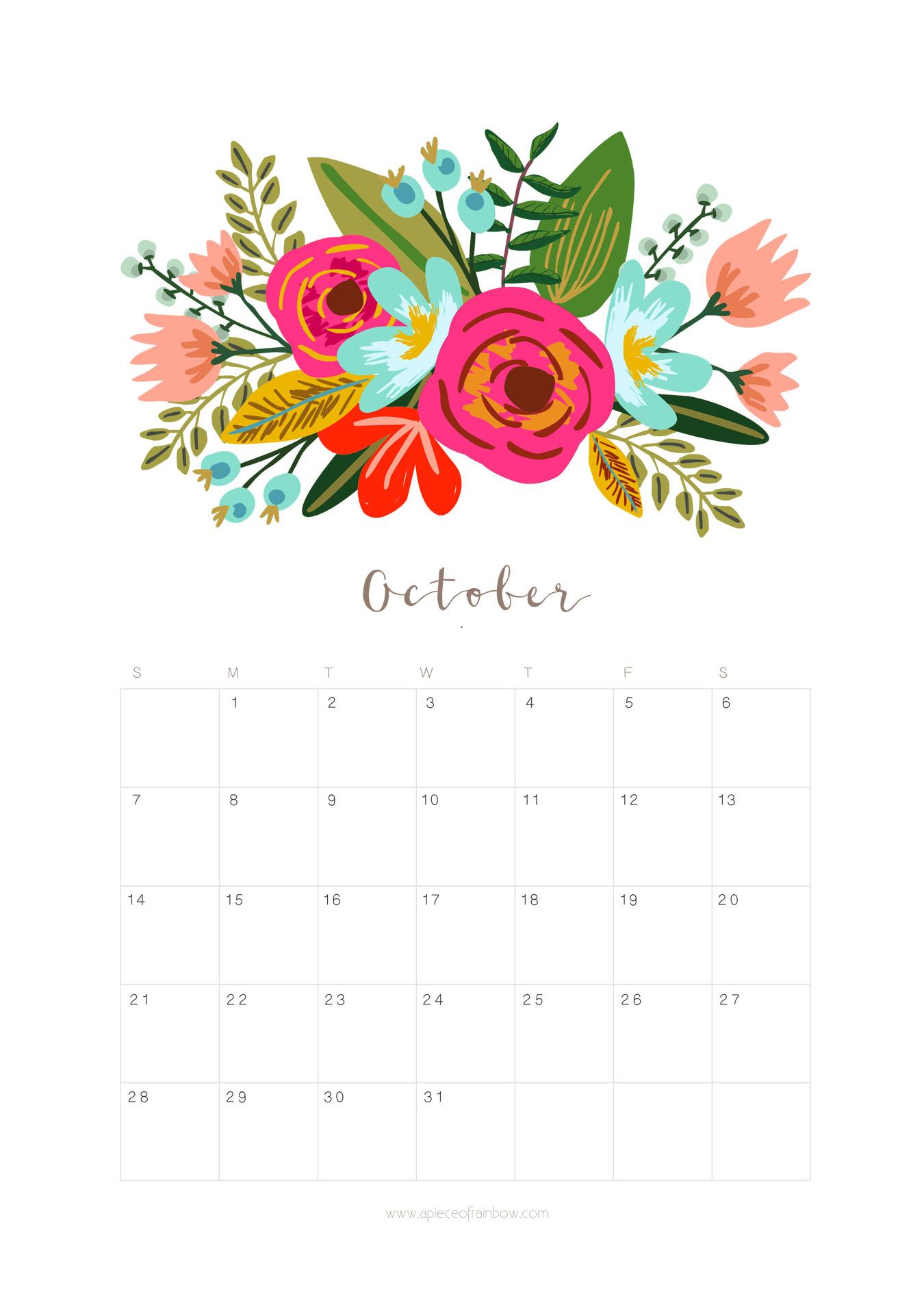 Printable October 2018 Calendar Monthly Planner - Floral intended for Bring Up A Calendar For October