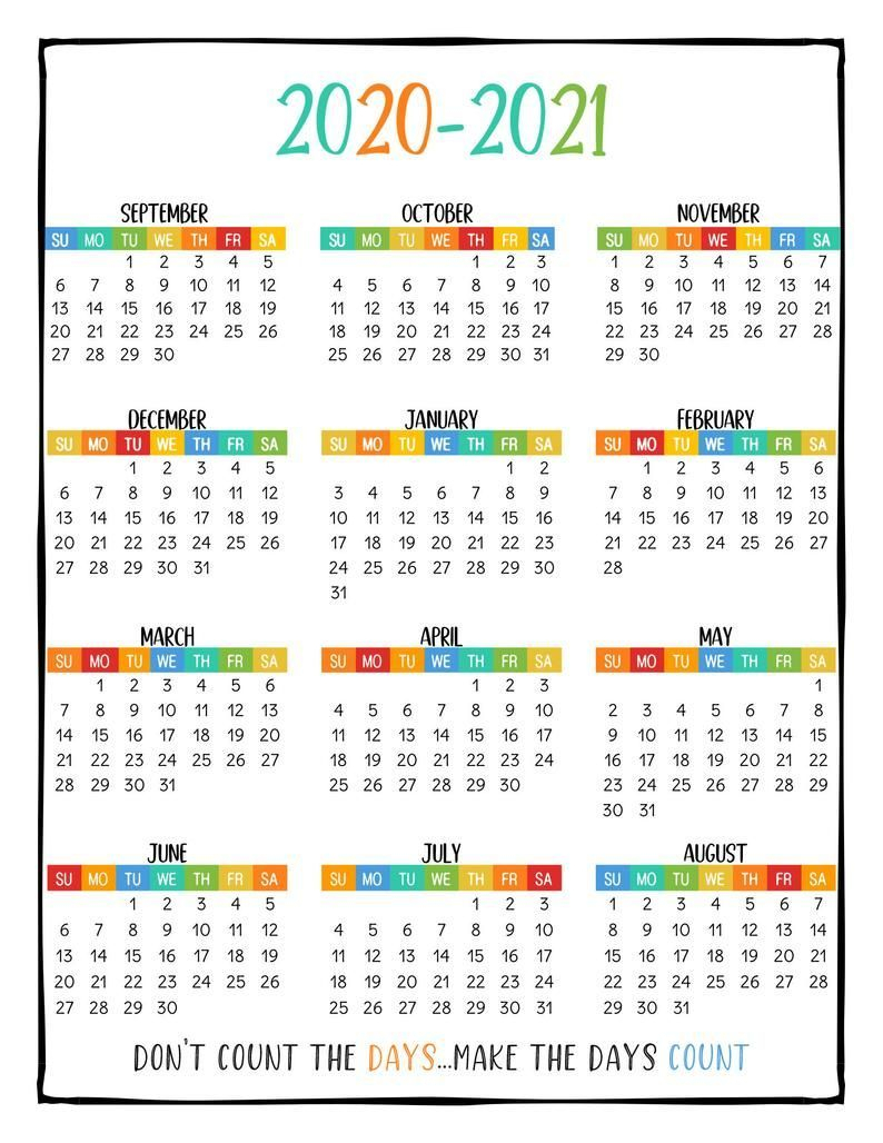 Printable School Year Calendar At A Glance 2020-2021 Wall for 2021-2021: 2-Year Planner 24-Monthly
