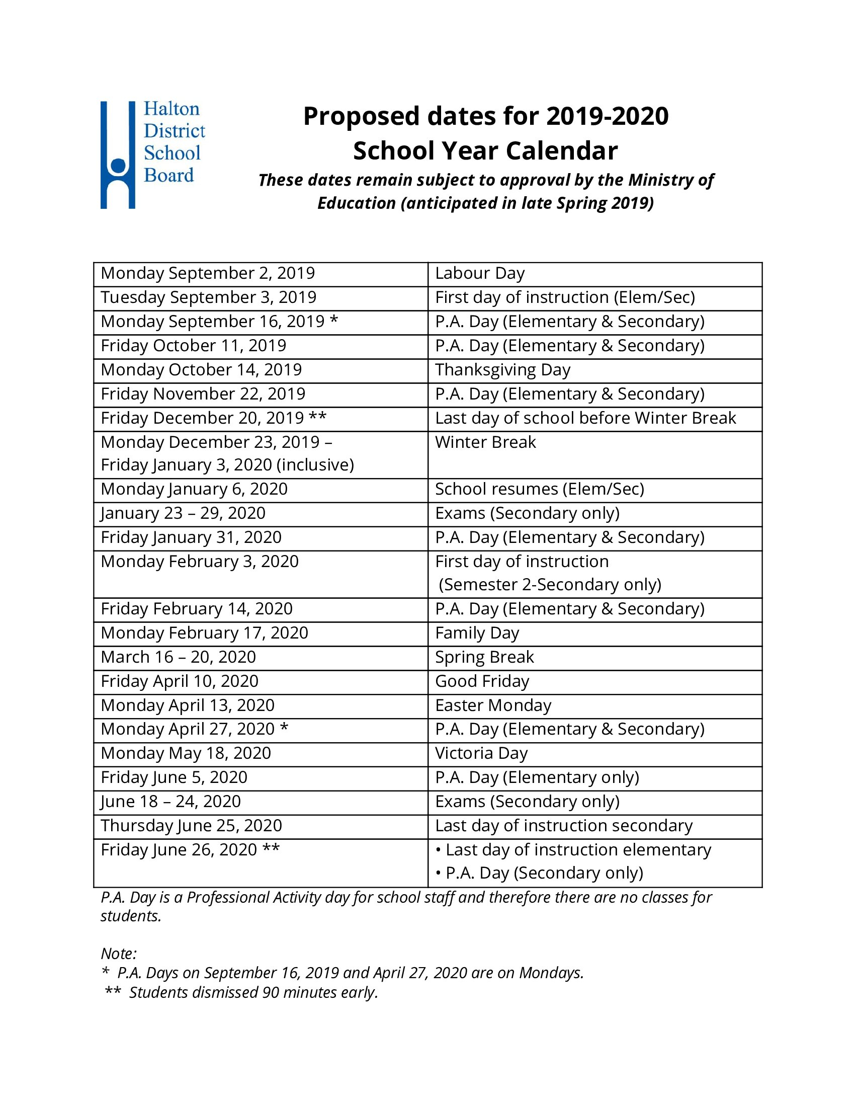 Proposed 2019-2020 School Year Calendar Approvedboard Of throughout School Year Calender For 2021 Ydsb