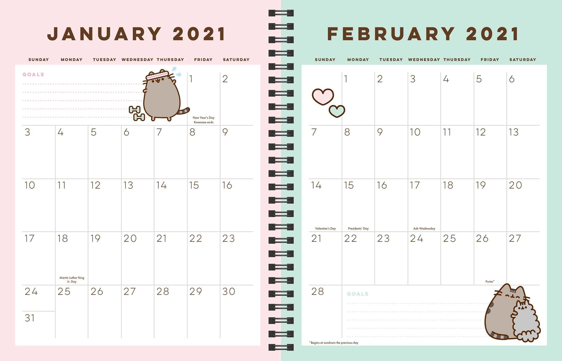Pusheen 16-Month 2020-2021 Weekly/Monthly Planner Calendar inside 2021 Planner: Weekly Calendar Planner
