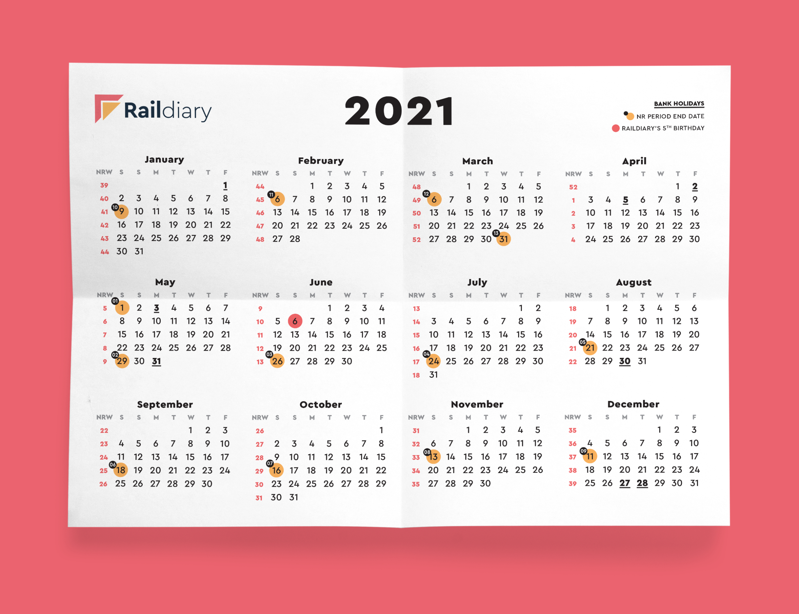 Rail Calendar 2021 for Weekly Planner For 2021- 52 Weeks