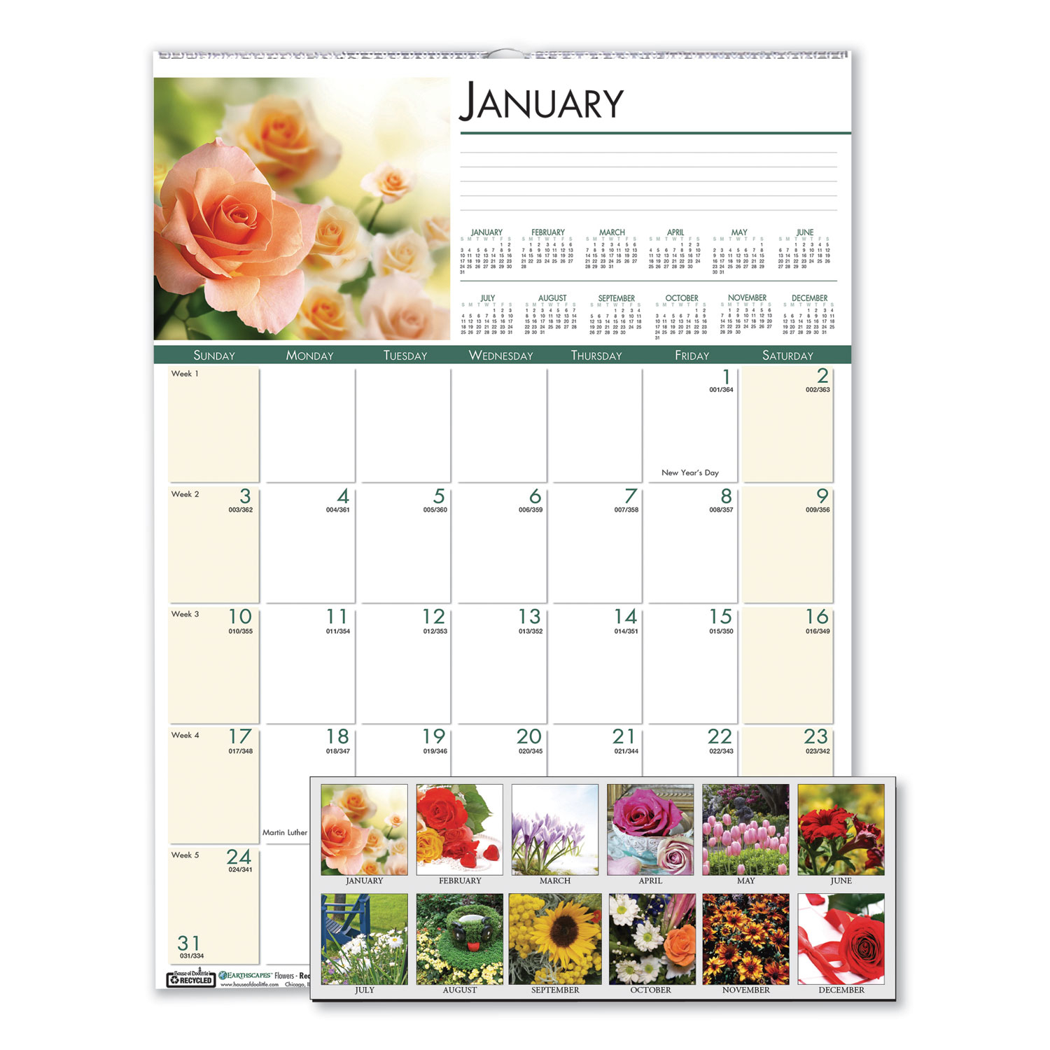 Recycled Floral Monthly Wall Calendar, 12 X 16.5, 2021 intended for Tropical Floral: Calendar 2021 Monthly