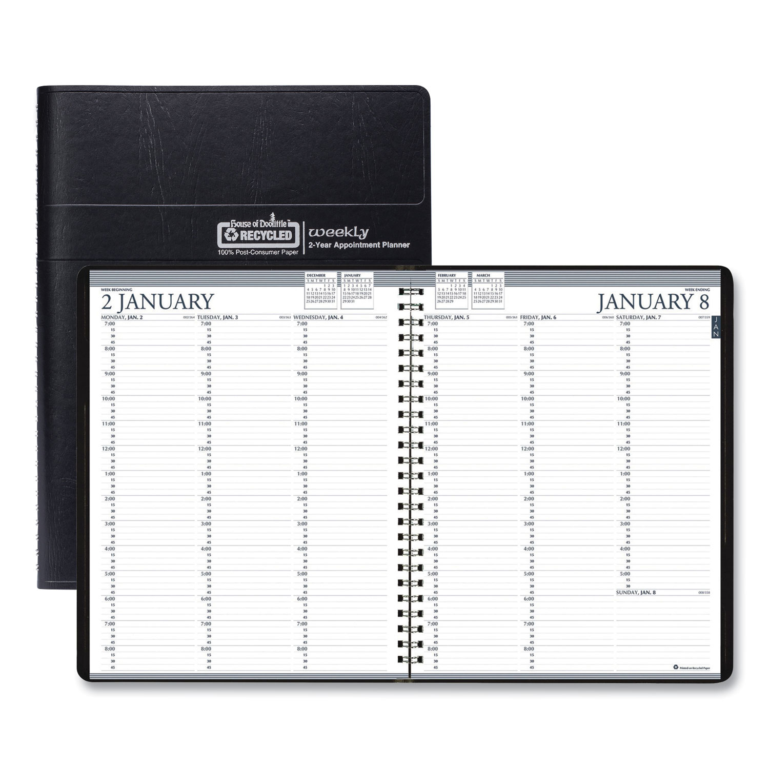 Recycled Two-Year Professional Weekly Planner, 11 X 8.5, Black, 2021-2022 intended for 2021-2022 Three Year Planner: 3 Year