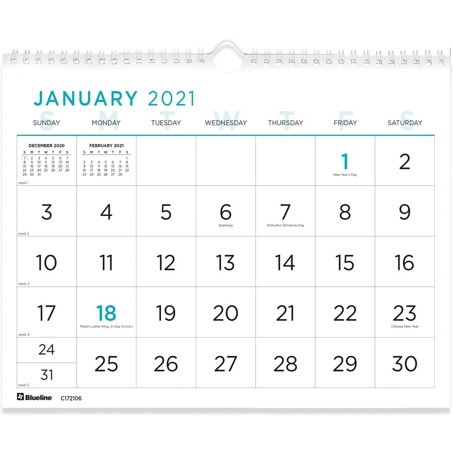 Rediform Large Print Wall Calendar - Monthly - 1 Year - January 2021 Till  December 2021 - 1 Month Single Page Layout - Twin Wire - Light Blue - with 2021 Large Print Calendar Monthly