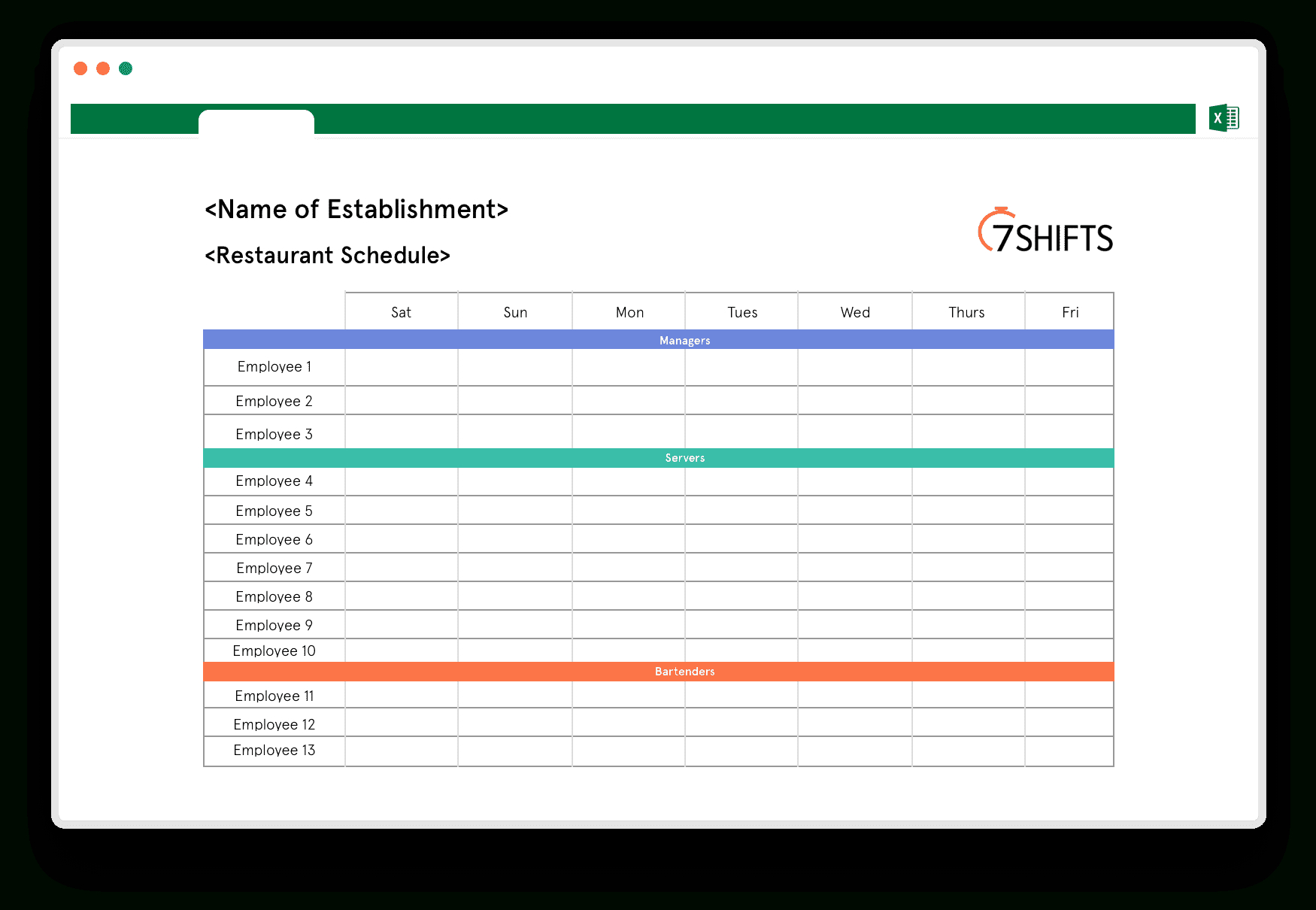 Restaurant Schedule Excel Template | 7Shifts for Free Shift Calendar Templates