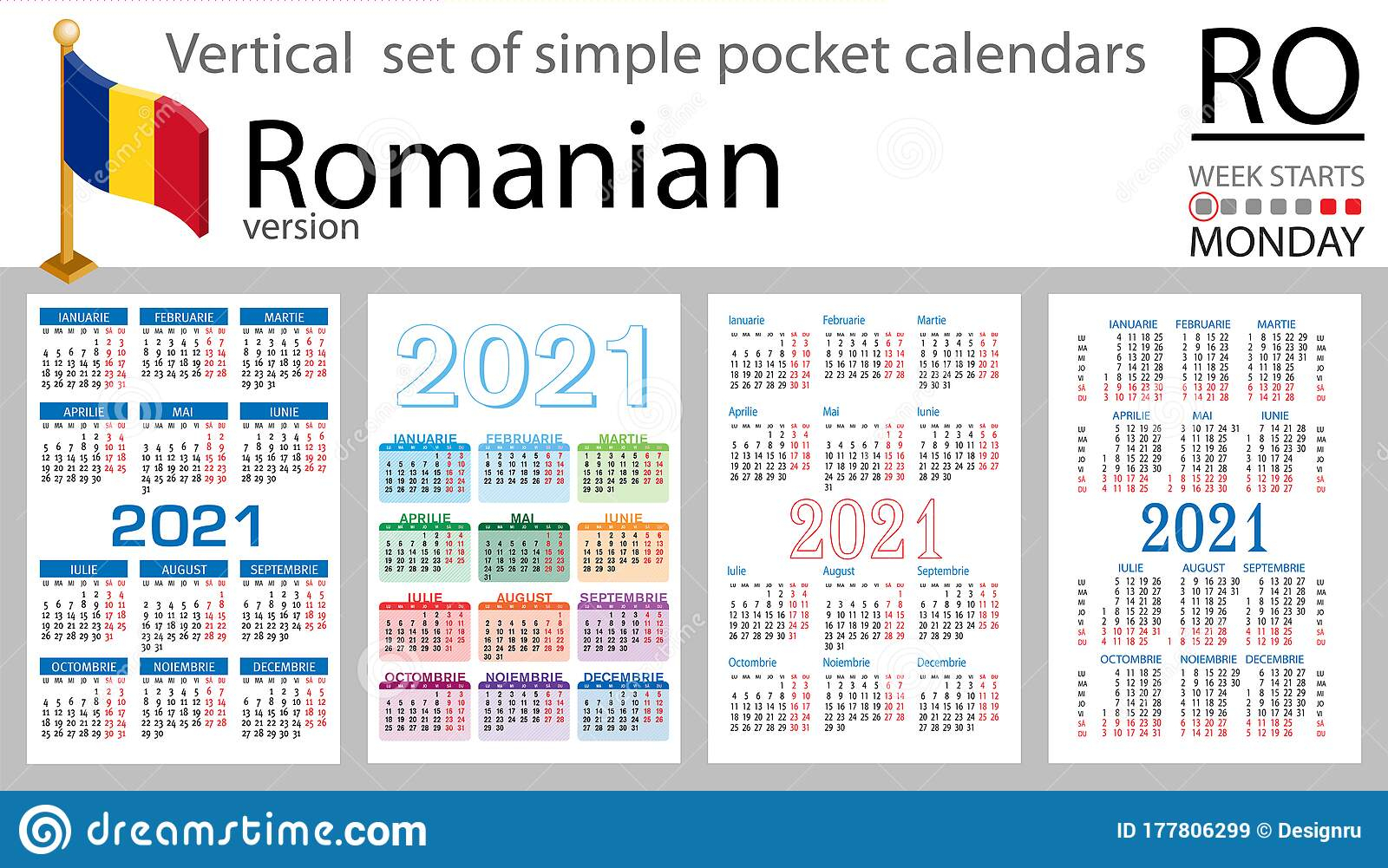 Romanian Vertical Pocket Calendar For 2021 Stock Vector within Pocket Calendar 2021-2021: Two Year