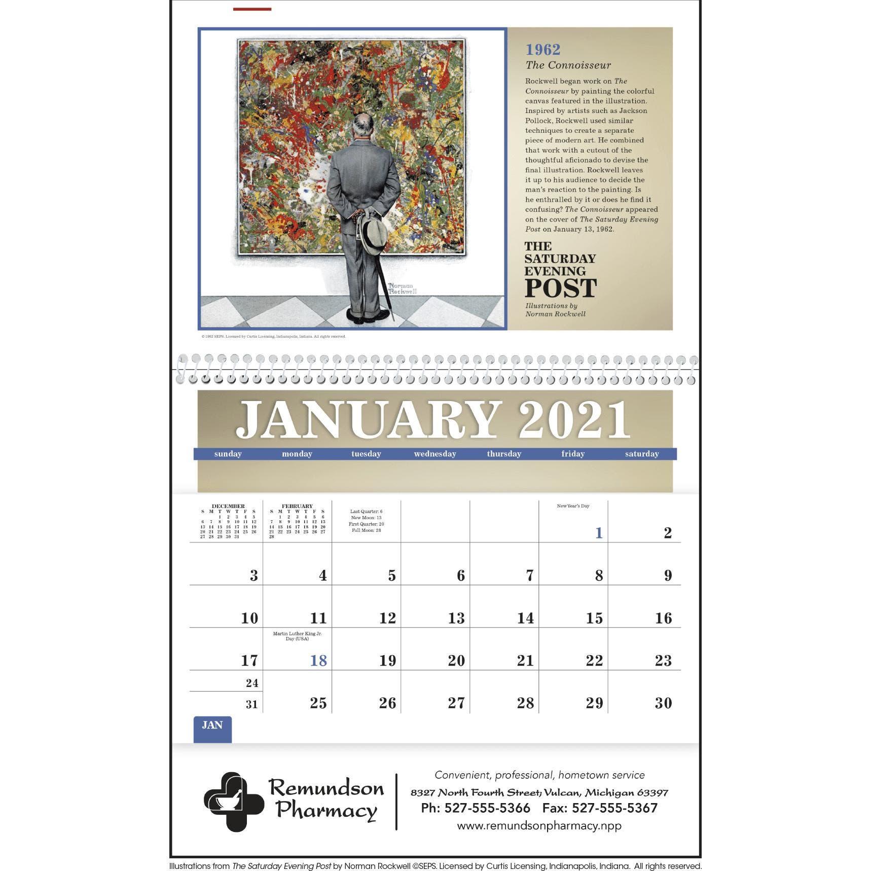 Saturday Evening Post Pocket Calendar (2021) pertaining to Free Hallmark Pocket Calendars