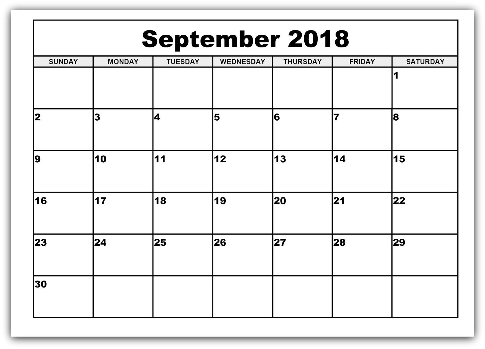 September 2018 Calendar Free Printable Bold Style | Calendar throughout Large Bold Printable Calendar