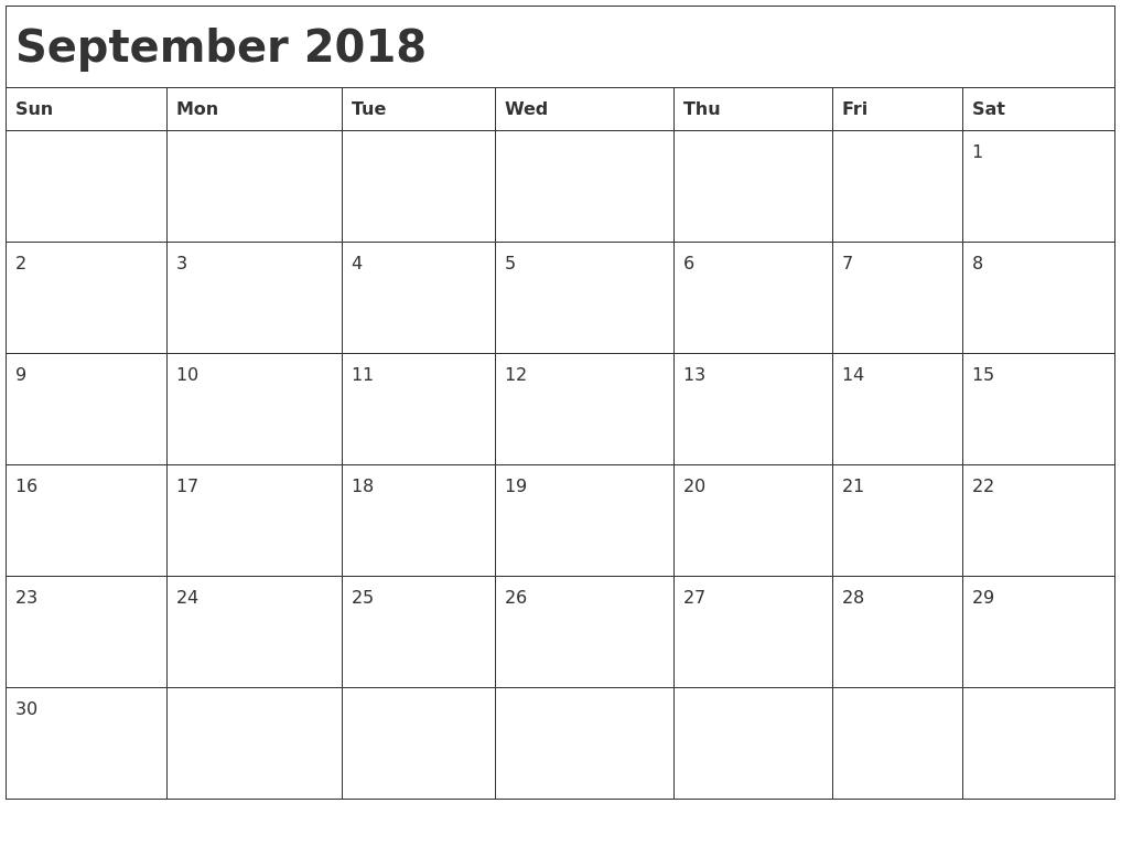 September 2018 Pdf Waterproof Calendar | Calendarbuzz for Waterproof Calendar 2021