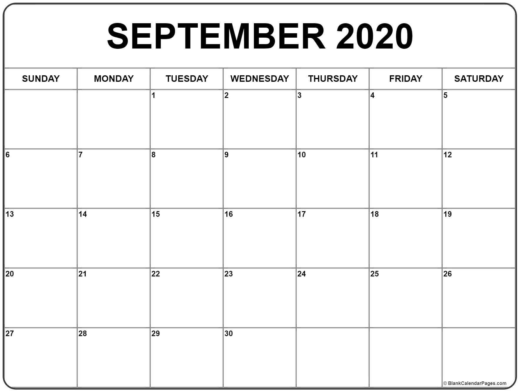 September 2020 Calendar | Free Printable Monthly Calendars pertaining to Fill In Calendar Printable