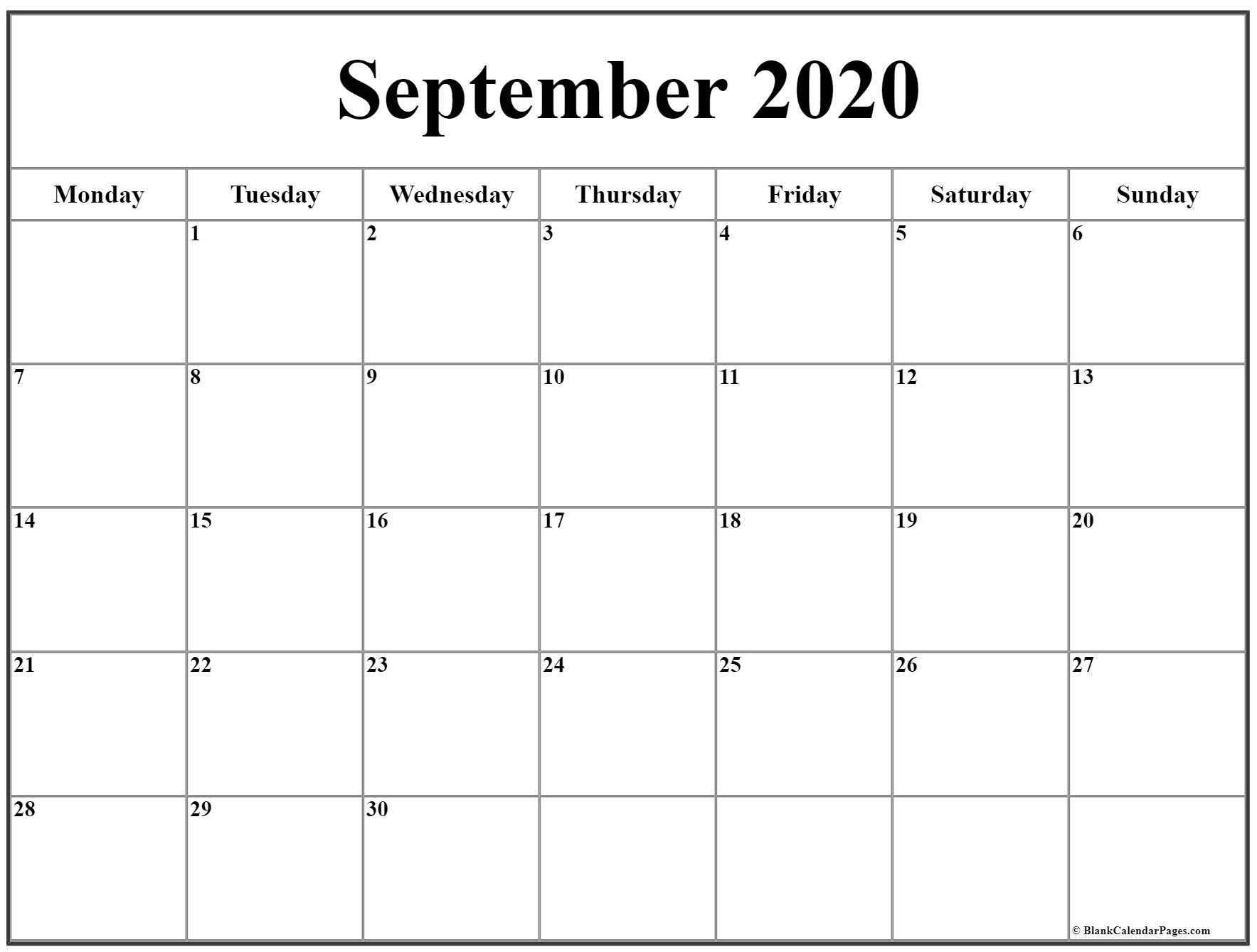 September 2020 Monday Calendar   Monday To Sunday inside Monday Through Sunday