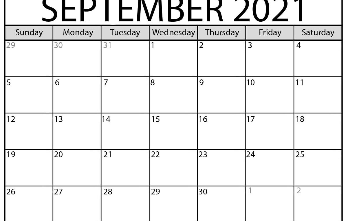 September 2021 Calendar | Blank Printable Monthly Calendars intended for September 2021 Calendar Printable