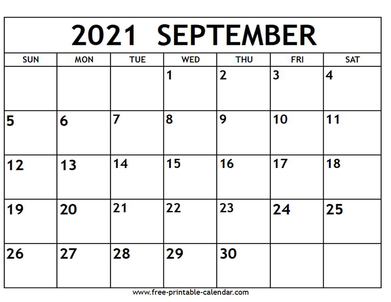 September 2021 Calendar - Free-Printable-Calendar with September 2021 Calendar Printable