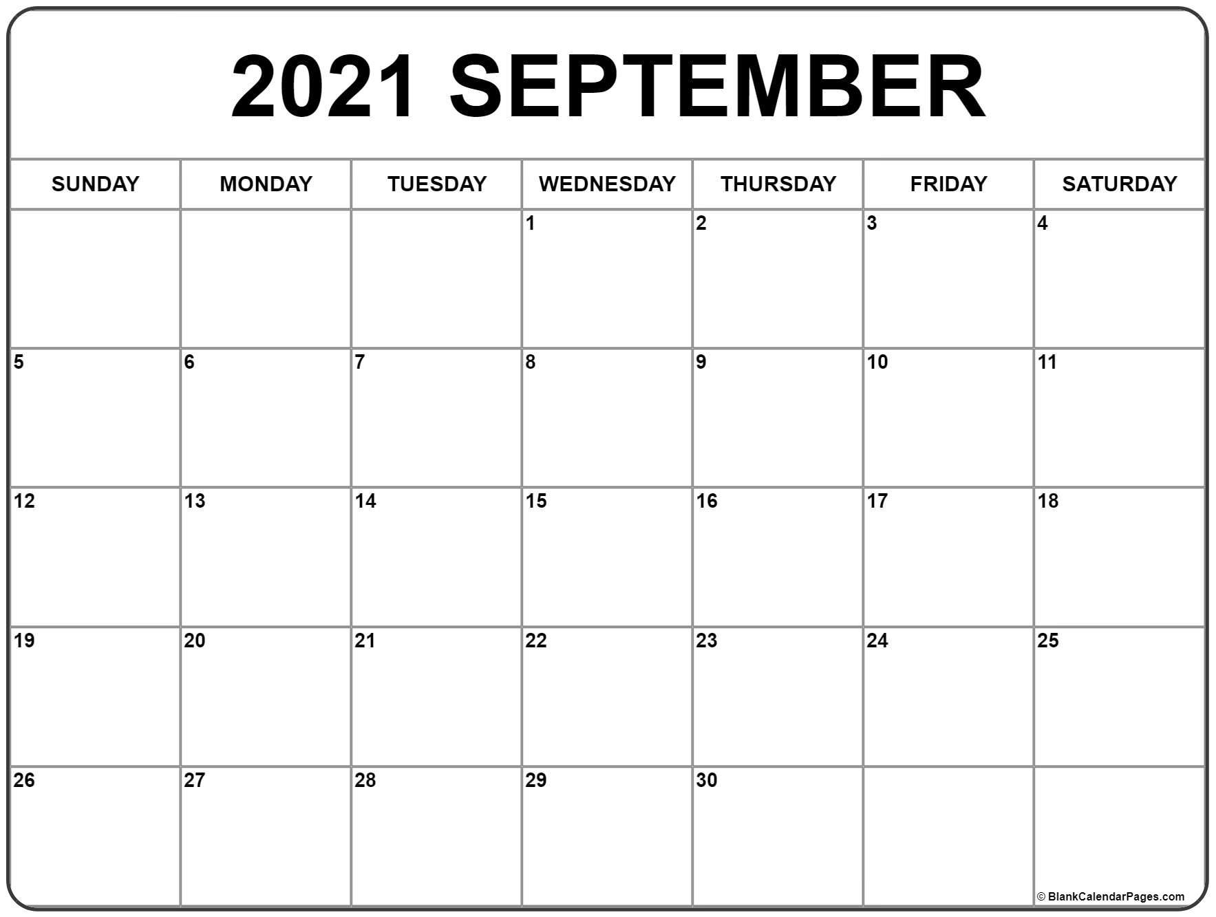 September 2021 Calendar | Free Printable Monthly Calendars pertaining to September 2021 Calendar Printable
