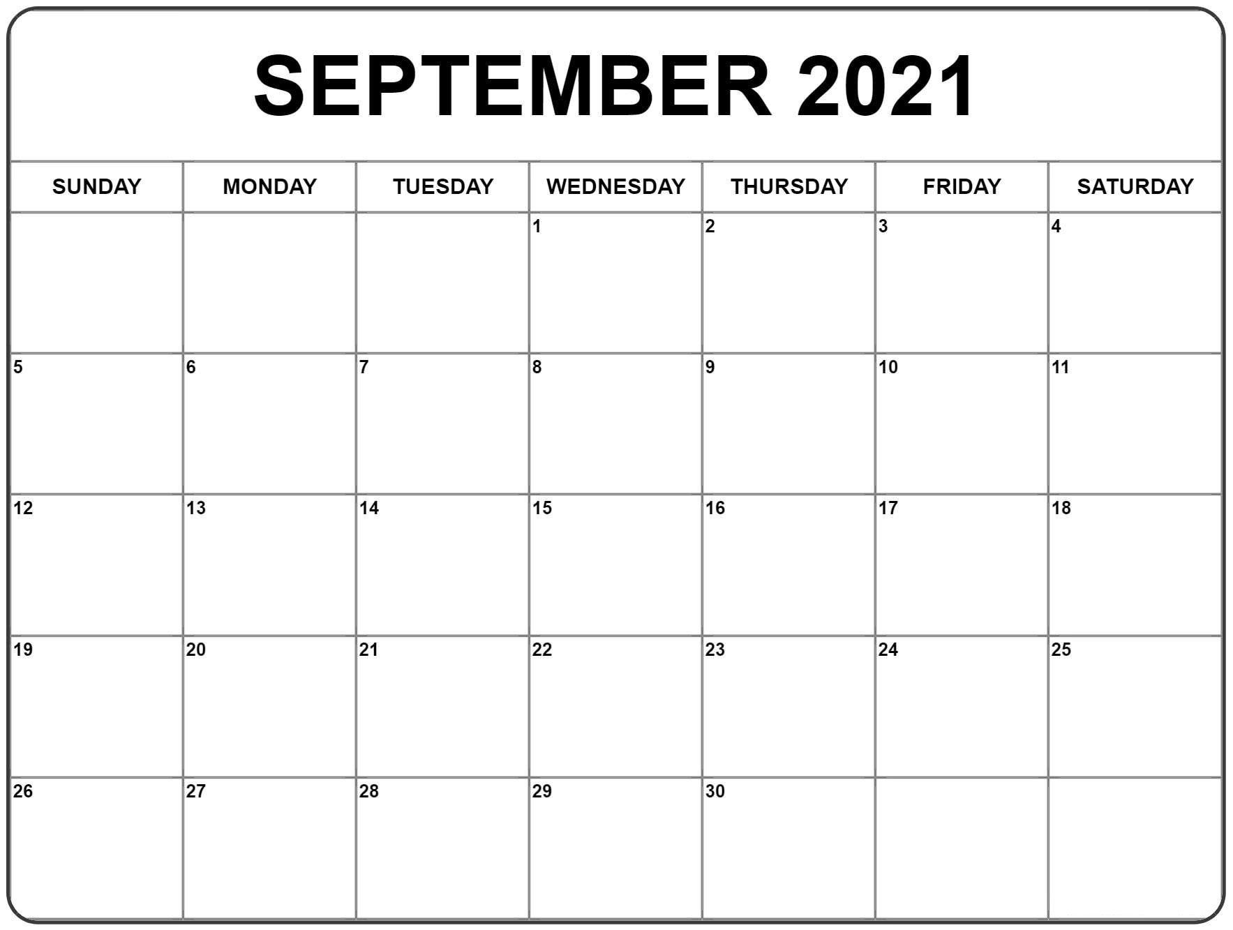 September 2021 Calendar | Monthly Calendar Printable, Free within Fill In Calendar 2021 Printable