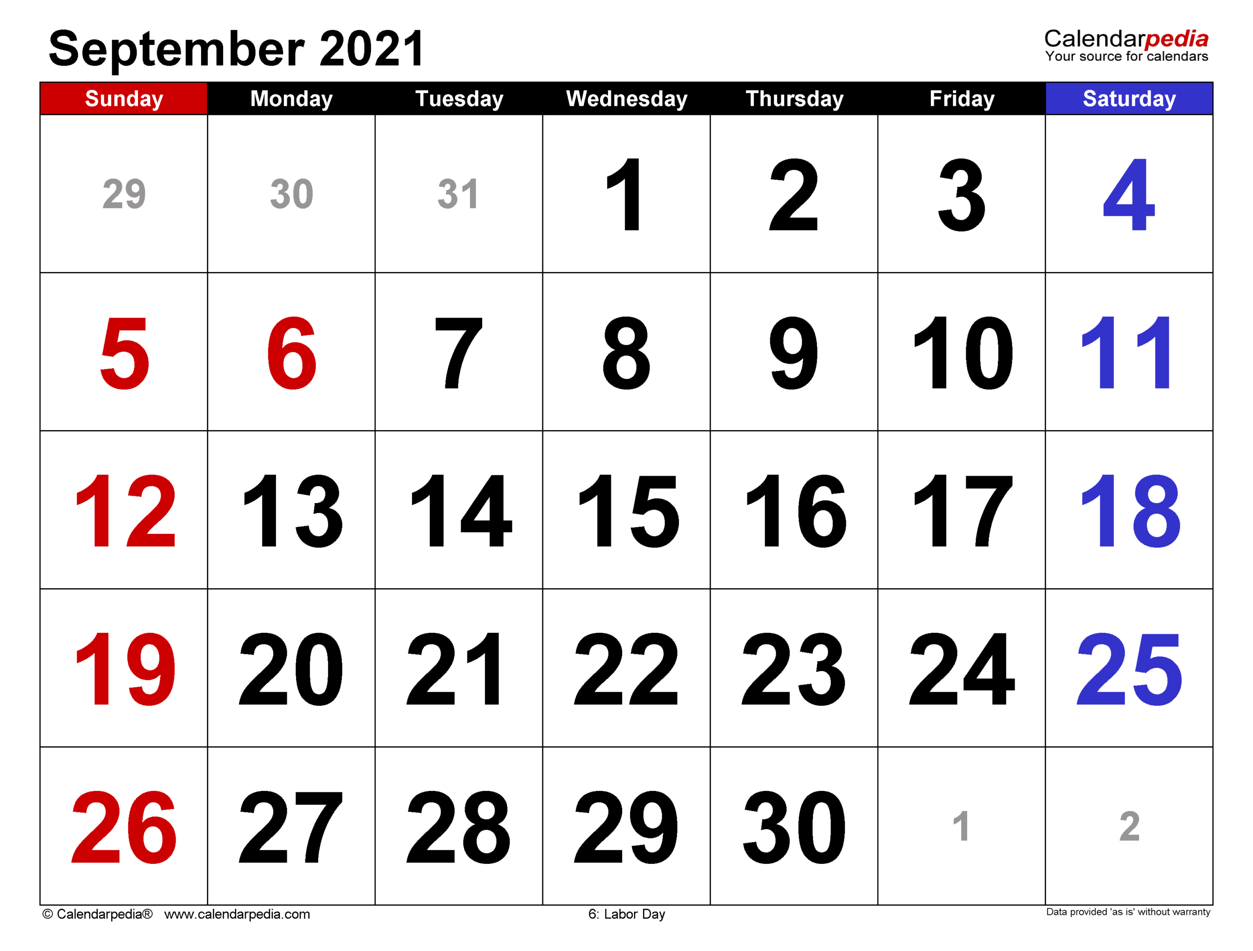 September 2021 Calendar | Templates For Word, Excel And Pdf within September 2021 Calendar Printable