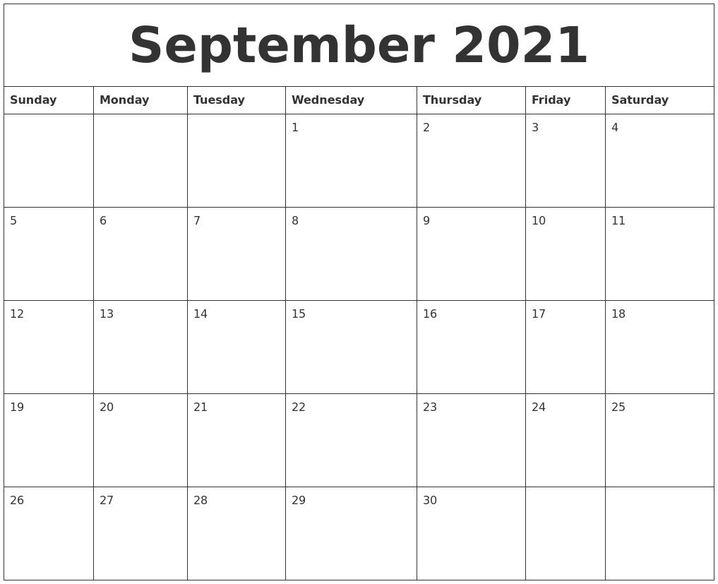 September 2021 Free Printable Calendar Templates pertaining to September 2021 Calendar Printable