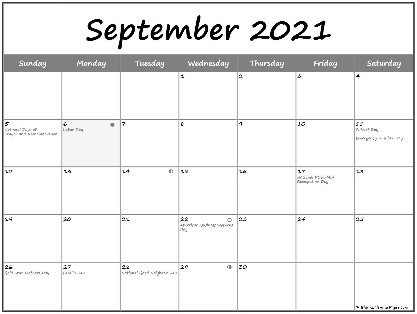 September 2021 Lunar Calendar | Moon Phase Calendar intended for Full Moon Calendar 2021 Printable