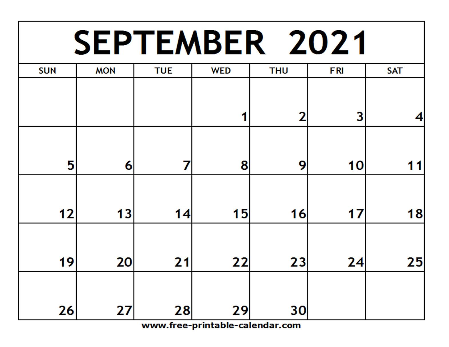 September 2021 Printable Calendar - Free-Printable-Calendar with regard to September 2021 Calendar Printable