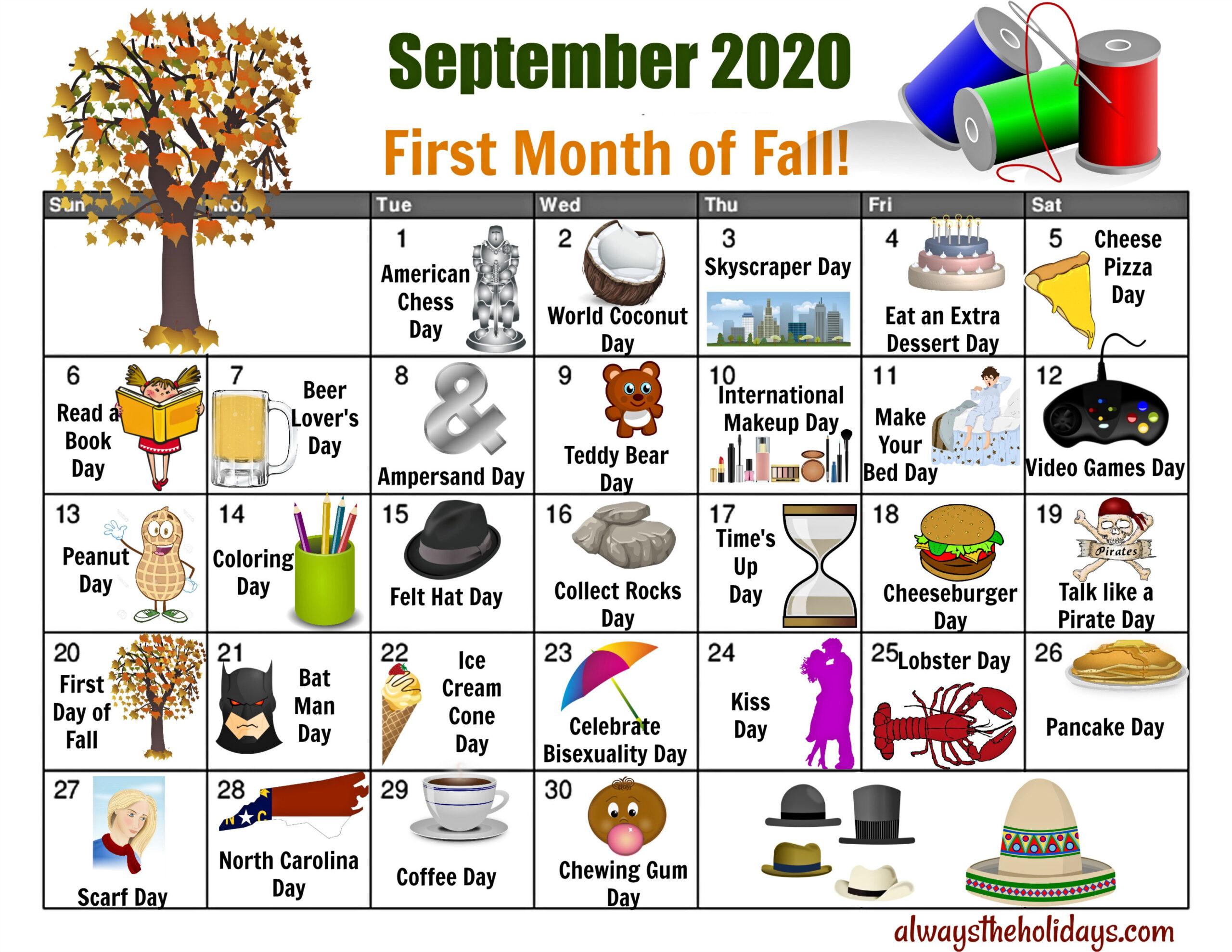 September National Day Calendar - Free Printable Calendars in Printable National Day Calendar 2021
