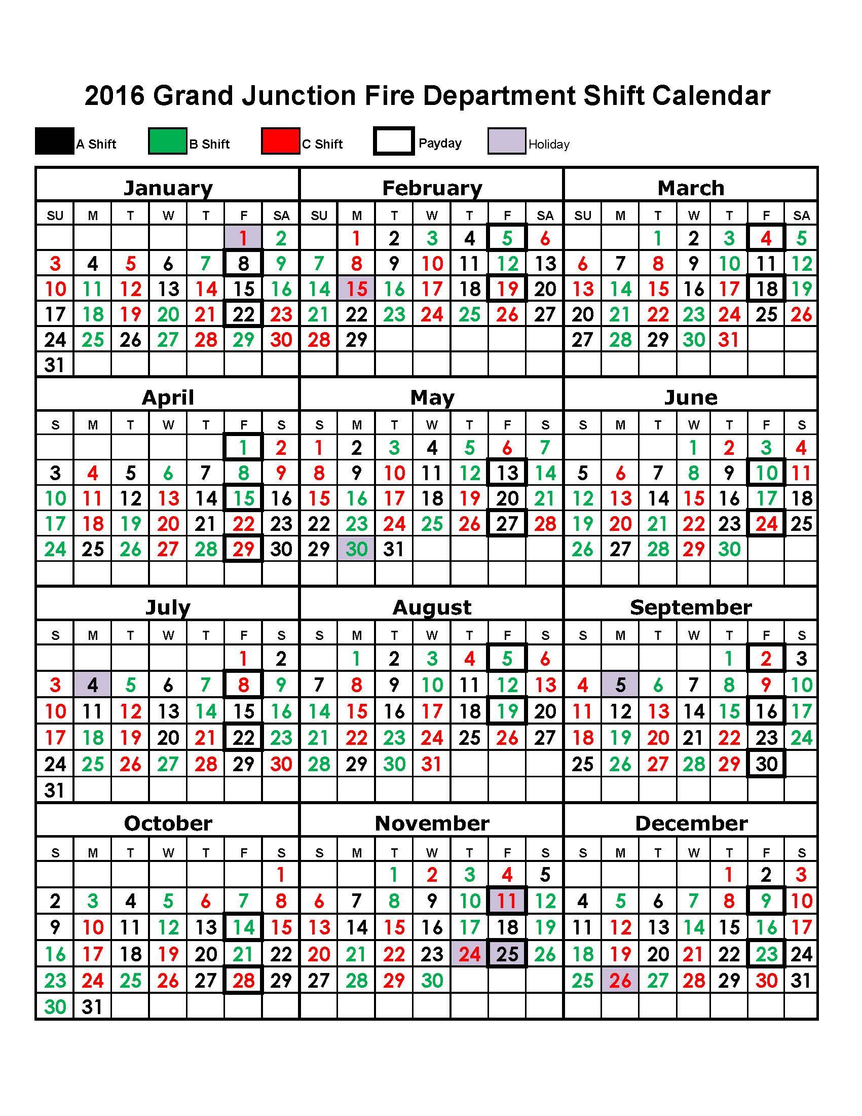 Shift Calendar – Grand Junction Fire Department News intended for Fire Shift Calendar