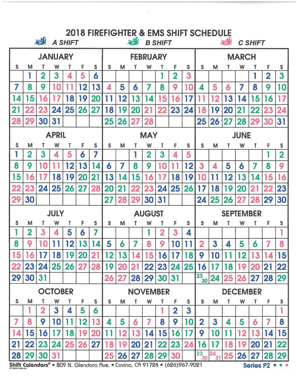 Shift Calendar — Sun City Fire And Medical Department in Fire Shift Calendar