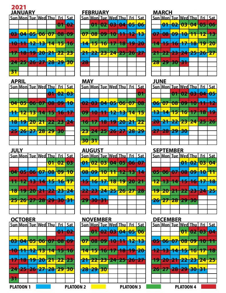 Shift Calendar | United Fire Fighters Of Winnipeg intended for Shift Schedule Jan 2021