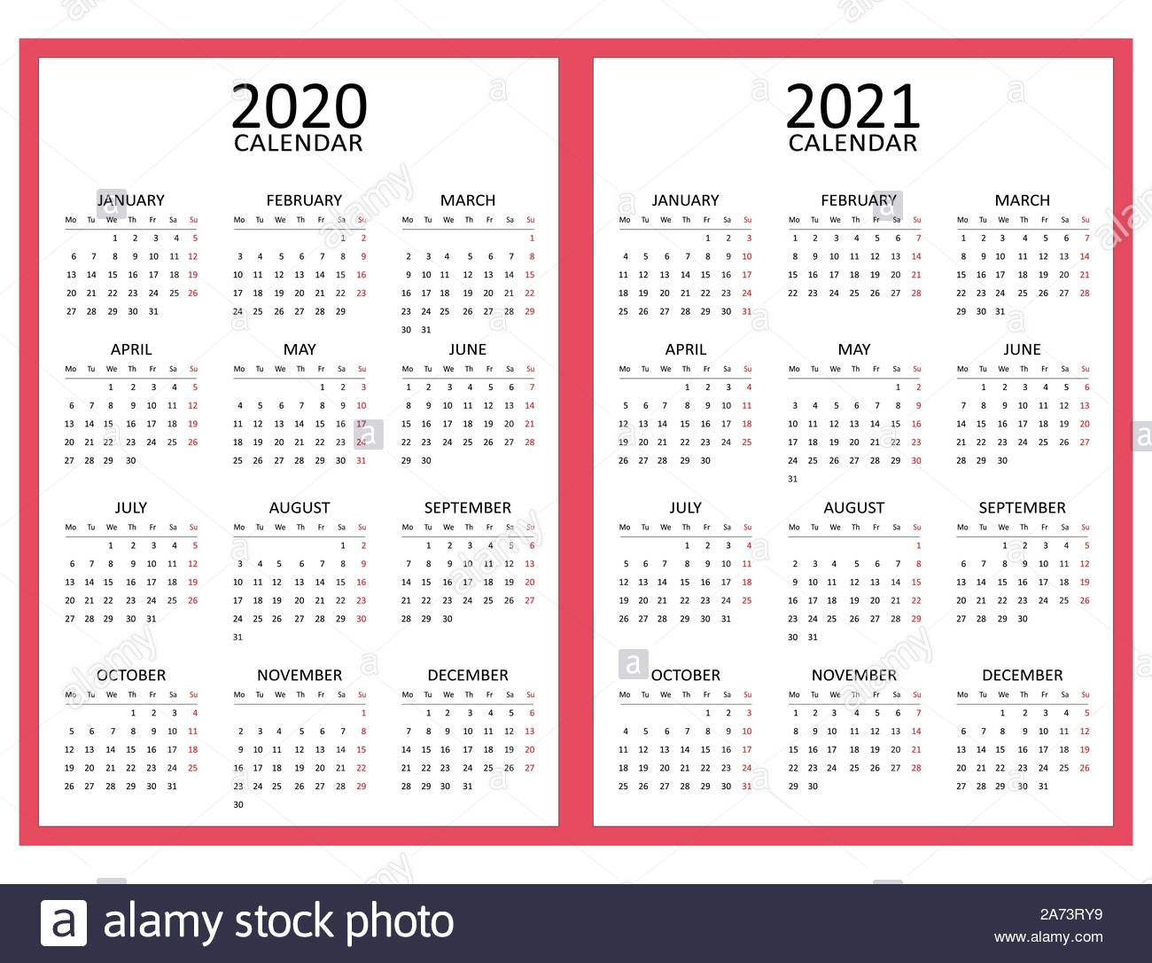 Simple Calendar Layout For Two Years 2020 And 2021. Starts intended for Sunday To Saturday Calendar