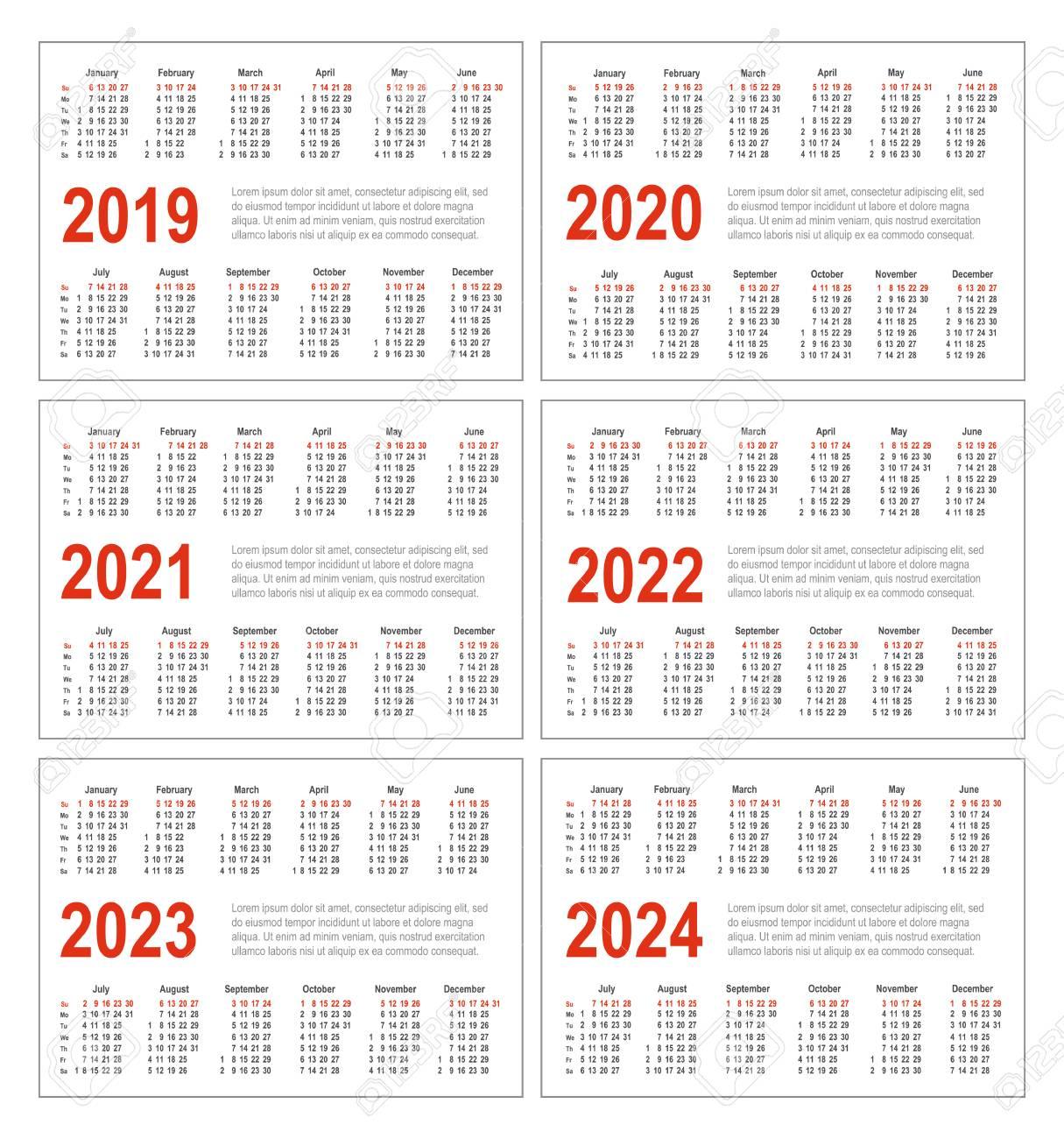 Simple Horizontal Calendar For 2019, 2020, 2021, 2022, 2023 And.. regarding Pocket Calendars 2021