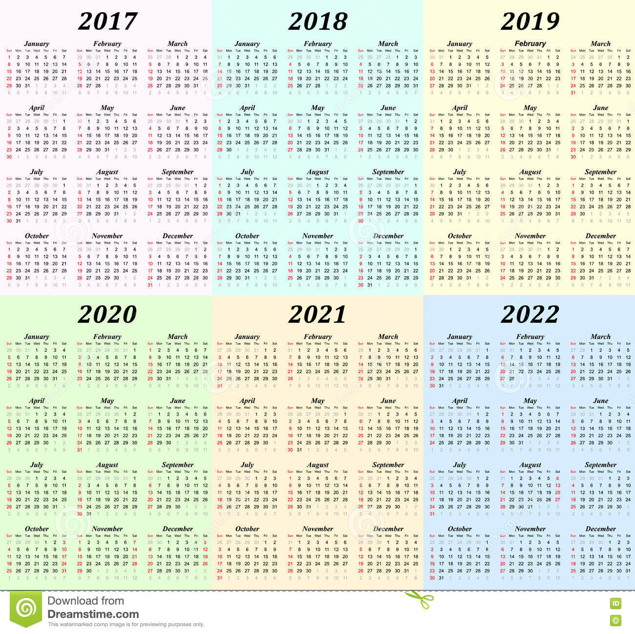 Six Year Calendar - 2017, 2018, 2019, 2020, 2021 And 2022 intended for 2021 - 2023 Four Year Monthly Calendar