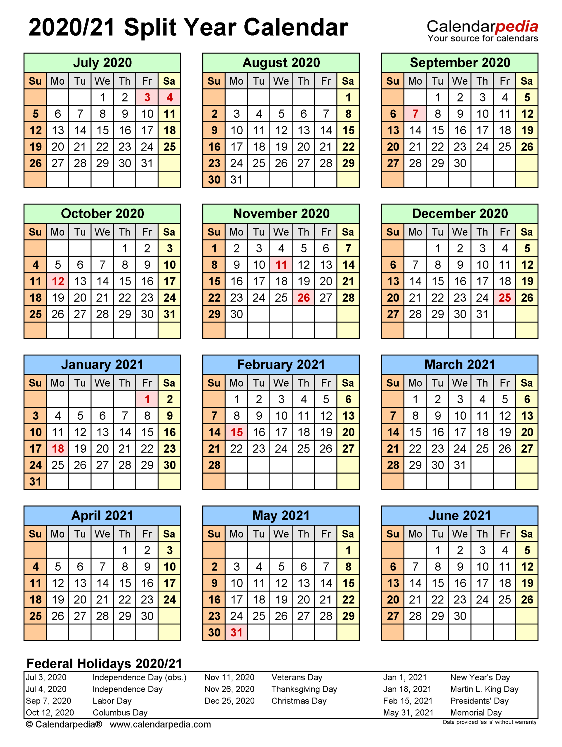Split Year Calendars 2020/2021 (July To June) - Pdf Templates within Sunday To Saturday Year Calendar 2021/21
