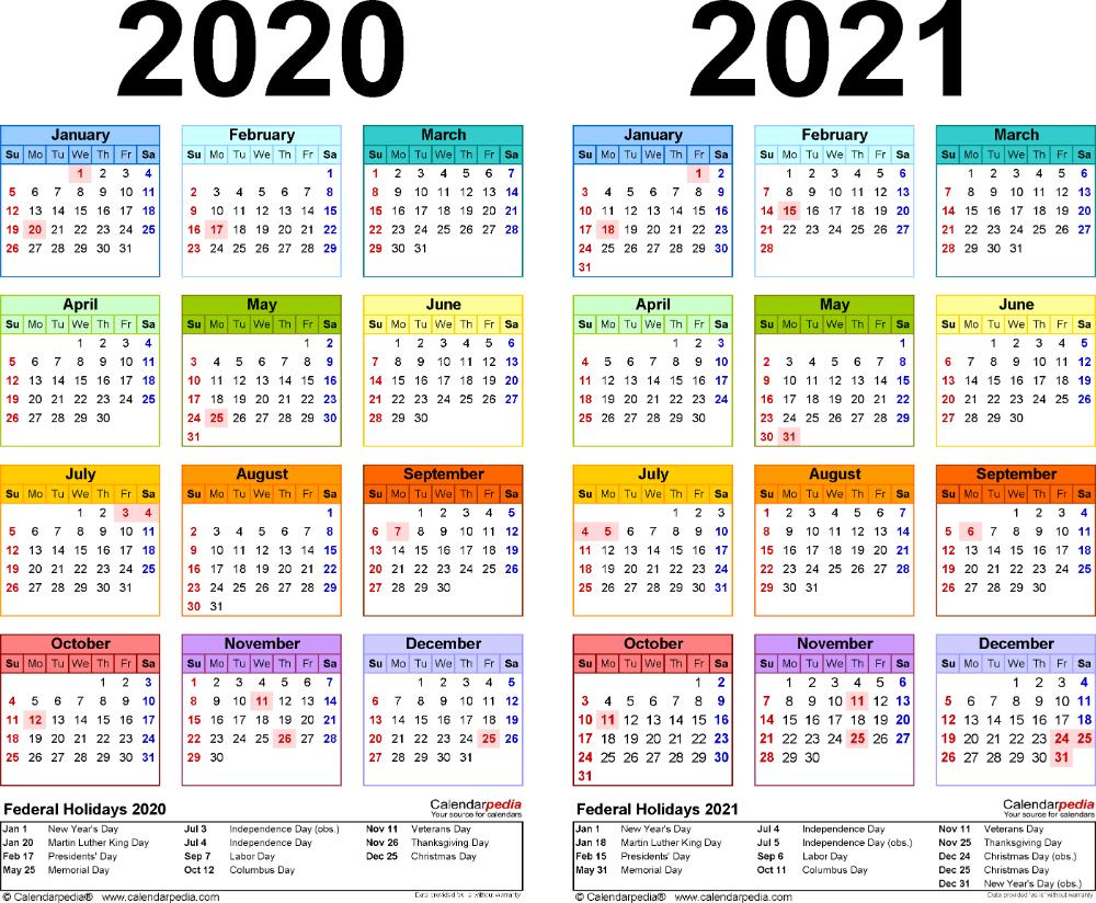 Template 2: Pdf Template For Two Year Calendar 2020/2021 regarding Printable Pocket Size Calendar 2021