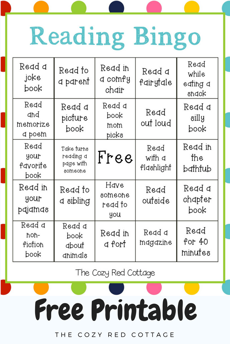The Cozy Red Cottage: Reading Bingo (Free Printable) within The Cozy Red Cottage