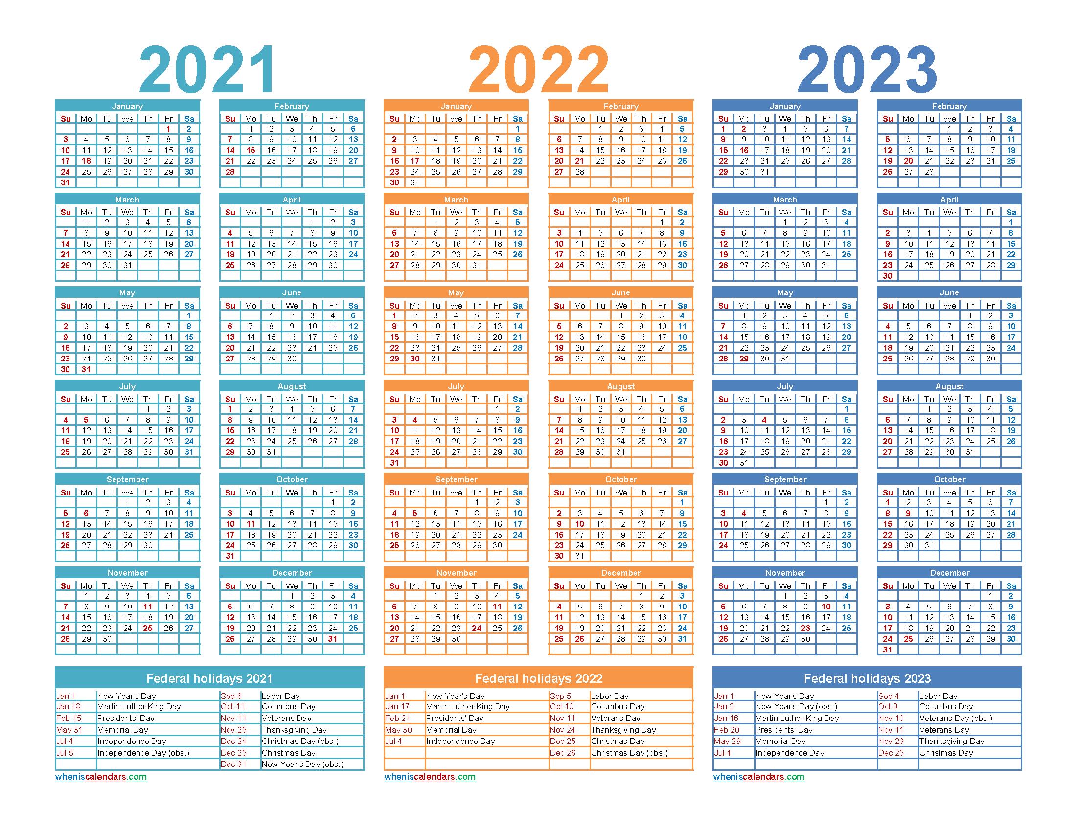 Three Year 2021 To 2023 Calendar Printable Word, Pdf – Free with regard to Three Year Printable Calendar 2021 To 2023
