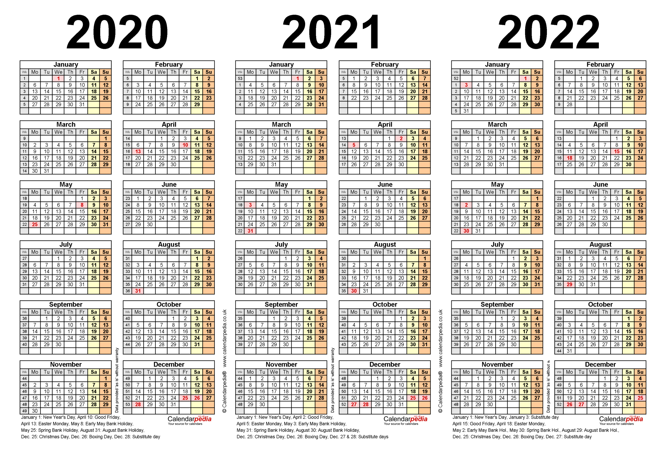 Three Year Calendars For 2020, 2021 & 2022 (Uk) For Word for 2021-2022 Three Year Planner: 3 Year