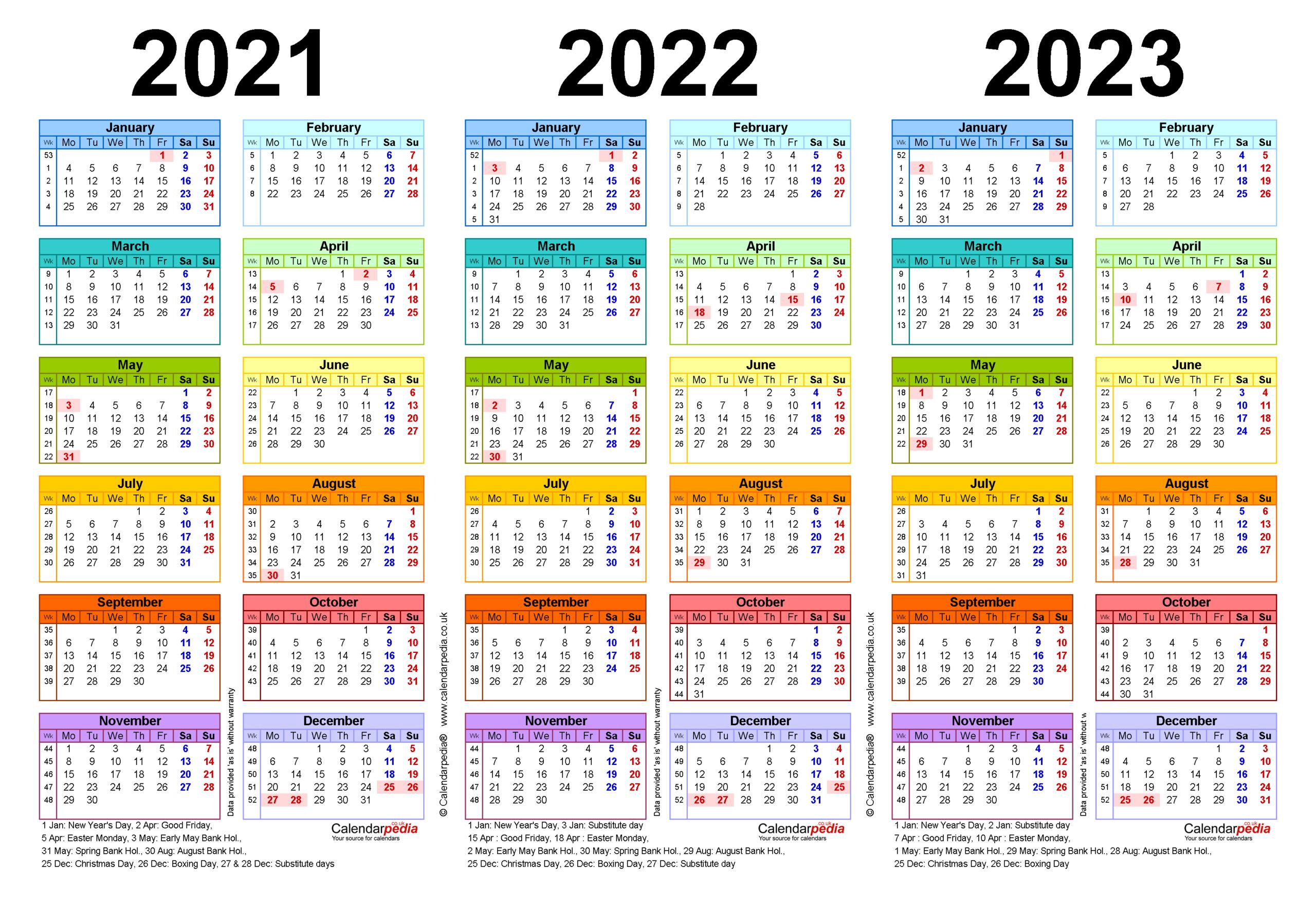 Three Year Calendars For 2021, 2022 & 2023 (Uk) For Pdf regarding 2021 - 2023 Four Year Monthly Calendar