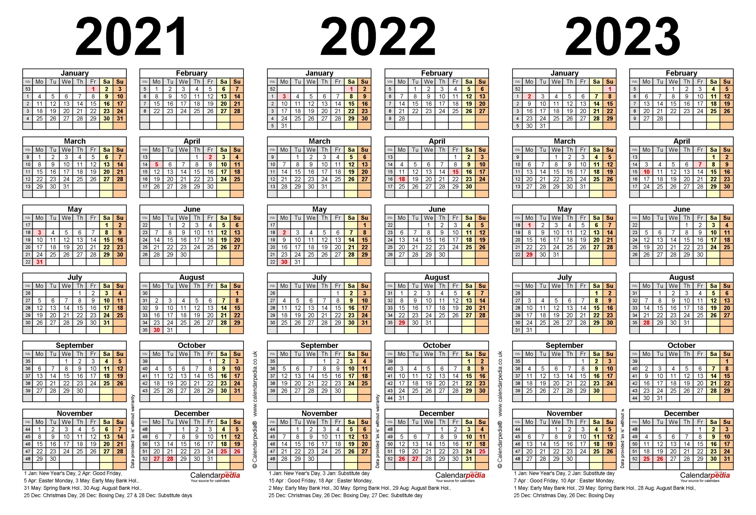 Three Year Calendars For 2021, 2022 & 2023 (Uk) For Word pertaining to Three Year Printable Calendar 2021 To 2023