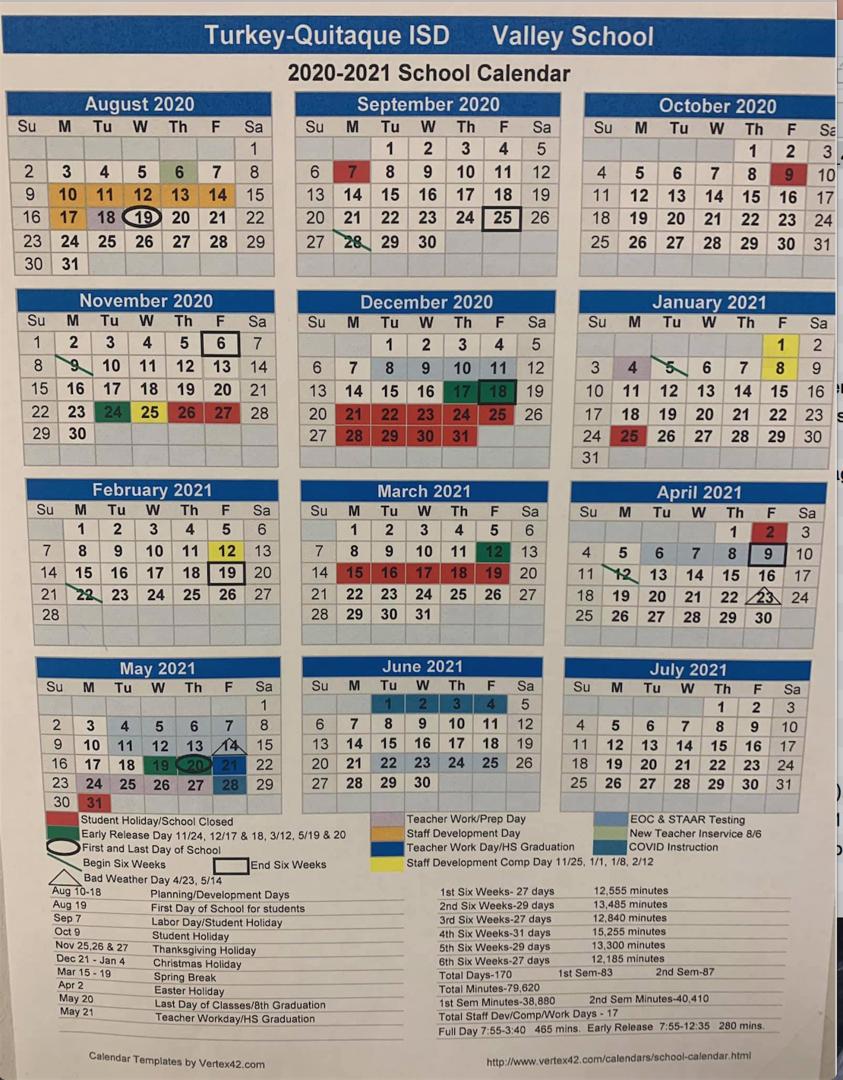 Turkey-Quitaque Isd - 2020-2021 Valley School Calendar (Updated) with regard to Vertex Academic Calendar