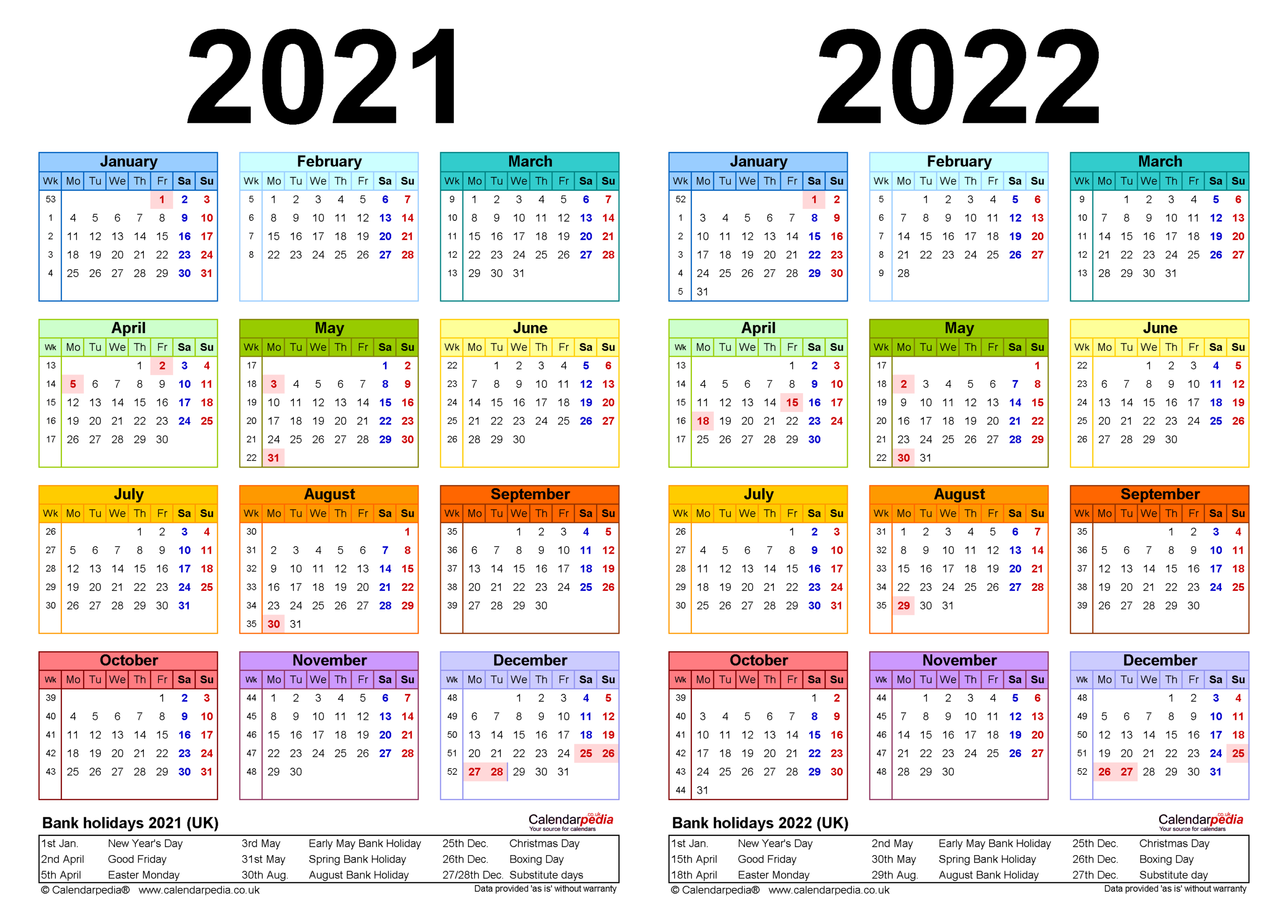 Two Year Calendars For 2021 & 2022 (Uk) For Excel pertaining to 2021-2021 Two Year Planner: 2 Year