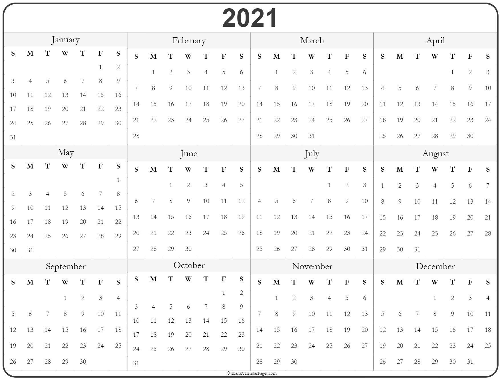 Universal Print Online Calendar 2021 Blank – Pleasant For in 2021 Printable Yearly Calendar Template