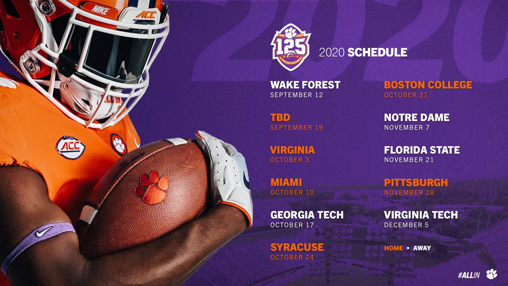 Updated 2020 Football Schedule Announced – Clemson Tigers pertaining to Printable Nfl Schedule 2021 Season