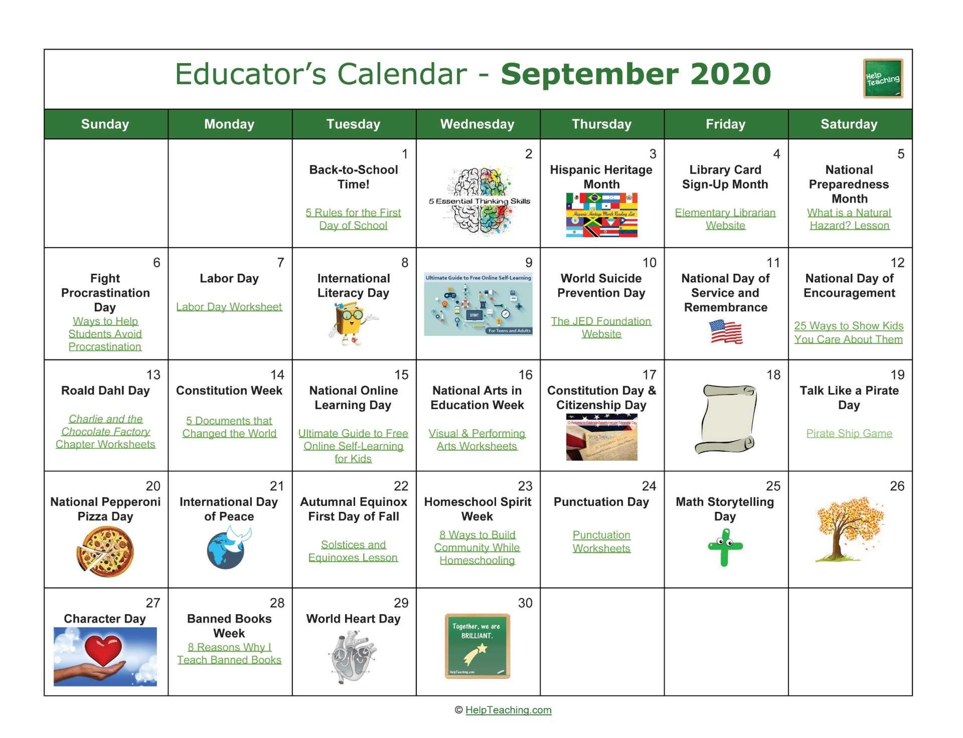 Us Educator'S Calendar 2020-2021 pertaining to Printable National Day Calendar 2021