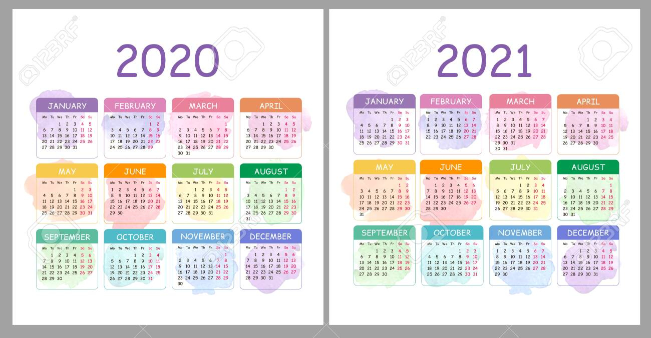 Vector Calendar 2020, 2021 Years. Colorful Set With Watercolor.. throughout 2021 Pocket Calendar