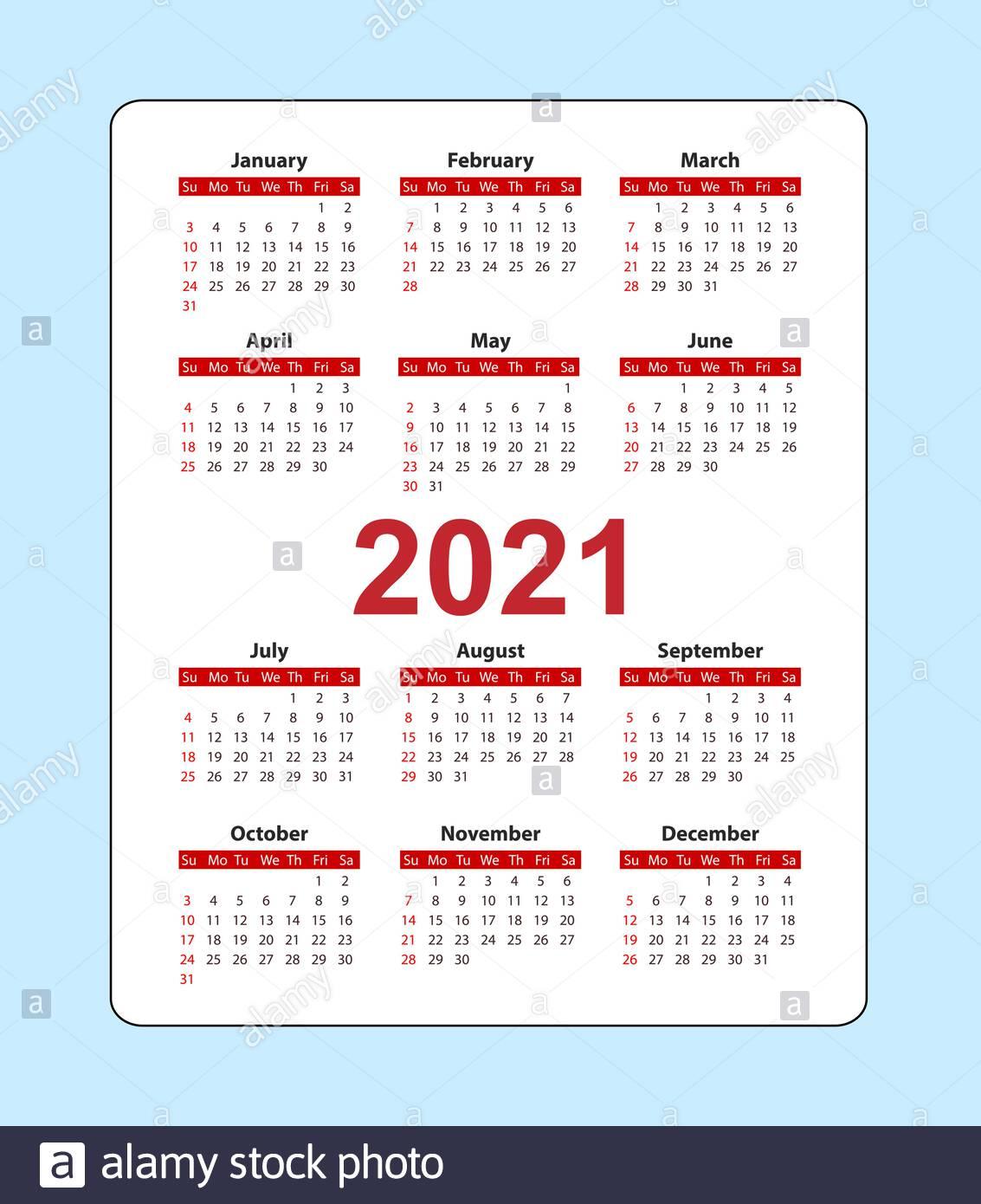 Vertical Pocket Calendar 2021 Year. Week Starts From Sunday intended for Pocket Calendars 2021