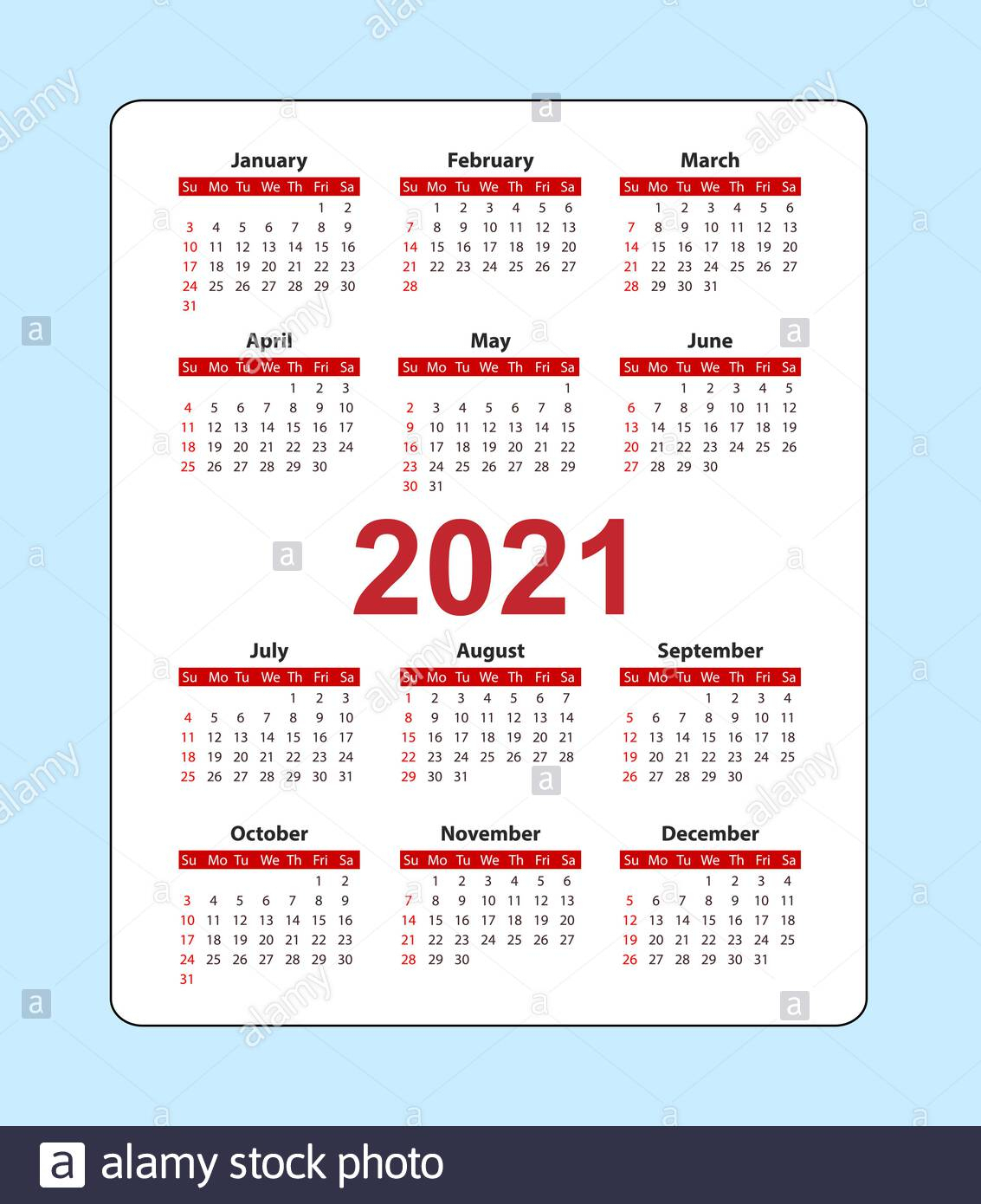 Vertical Pocket Calendar 2021 Year. Week Starts From Sunday within 2021 Pocket Calendar