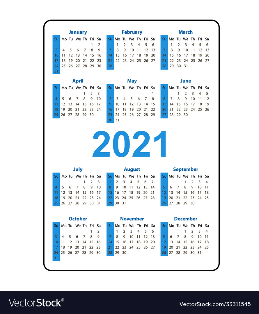 Vertical Pocket Calendar 2021 Year Week Starts Vector Image for Pocket Calendars 2021