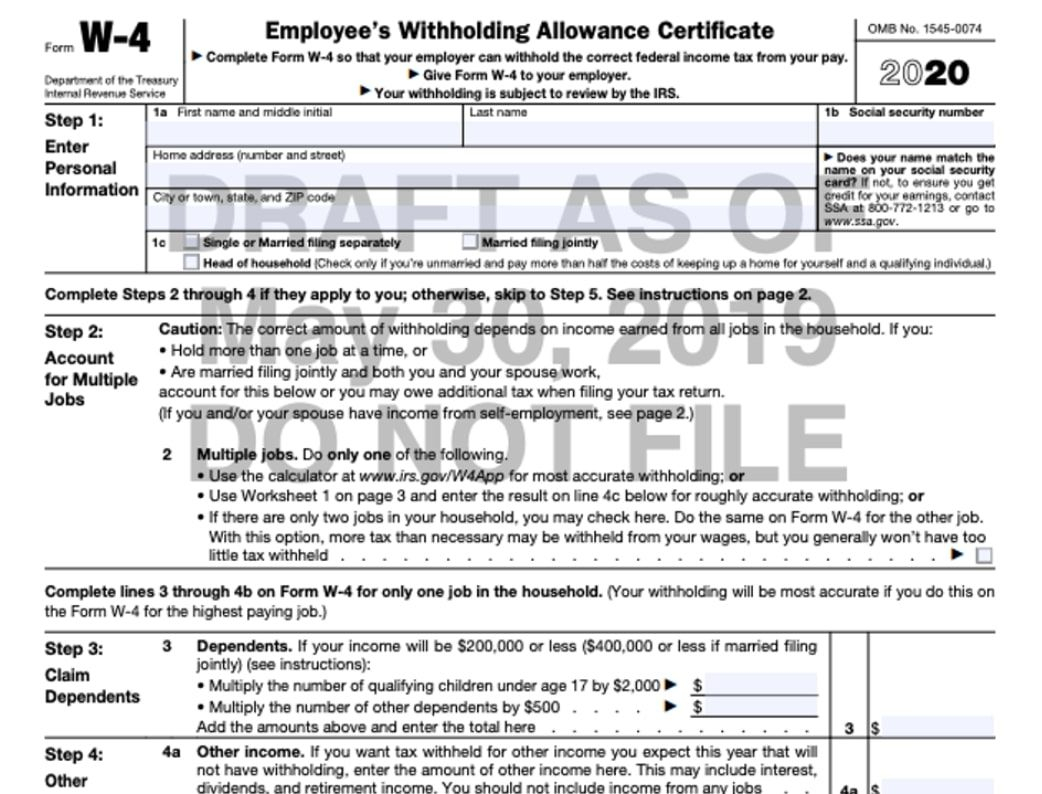 W-4 Form 2021 for Irs Forms 2021 Printable